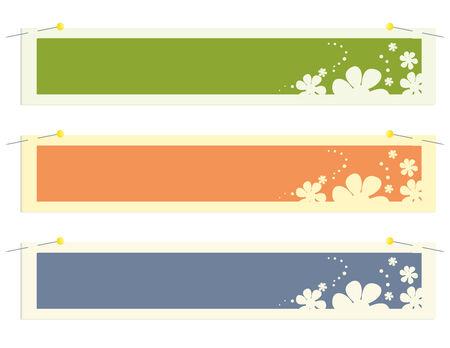 Rectangular banner flower stickers on a white background