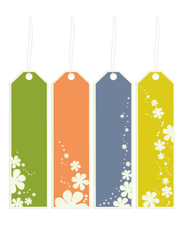 White flower bookmarks with strings on a white background