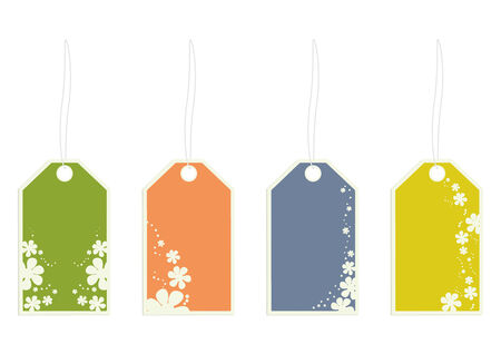 White flower tags with strings on a white background