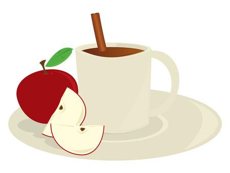 Beker van appel cider met appelen en een kaneelstokje geïsoleerd op een witte achtergrond  Stock Illustratie