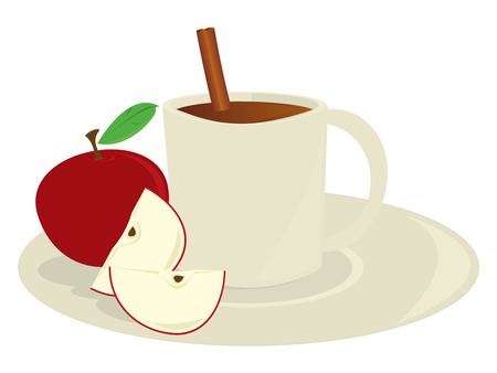 Mug of apple cider with apples and a cinnamon stick isolated on a white background