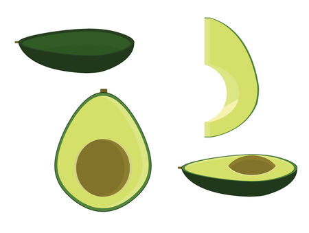 Avocado isolated in several variations including empty halved and sliced