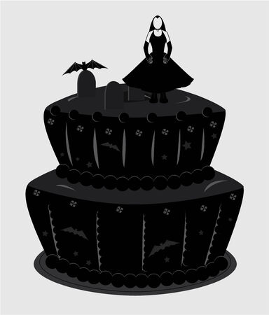 Two tier cake with black frosting tombstones and a woman in a black dress