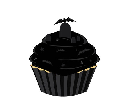 frosted: Black frosted cupcake with bat and gravestone with a bat all isolated on a white background
