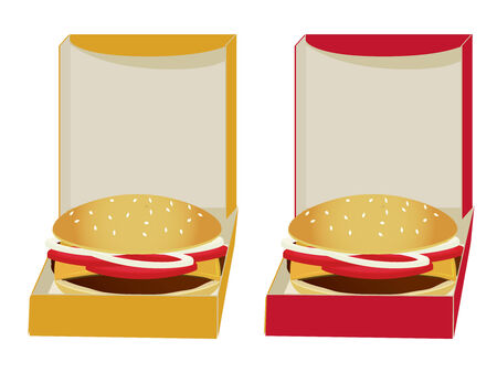 Two boxes in yellow and red with burgers inside isolated on white Illustration