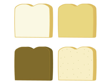 Bread slices of wheat white rye and pumpernickle isolate on a white background