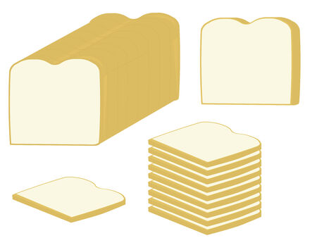 slices of white bread and a loaf of bread on a white background Çizim