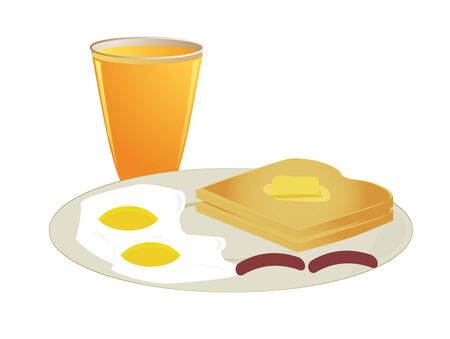 A plate of toast with sunny side eggs and sausage with a glass of orange juice