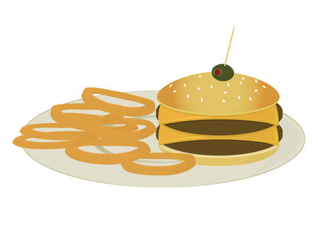 Double cheeseburger with onion rings all on a plate isolated on a white background