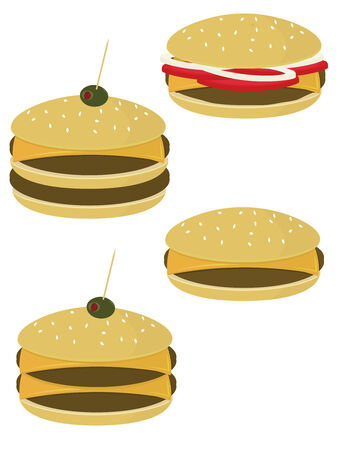 Burgers and cheeseburgers isolated on a white background