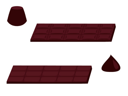 Chocolate bars and chip isolated on a white background