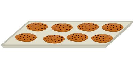 모든 흰 배경에 고립 베이킹 트레이에 8 개의 초콜릿 칩 쿠키 일러스트