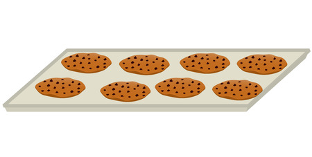 Eight chocolate chip cookies on a baking tray all isolated on a white background