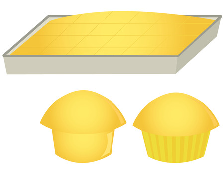 Cornbread in pan and muffins isolated on a white background