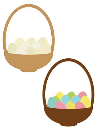 Eggs plain and colorful in baskets isolated on a white basket Иллюстрация