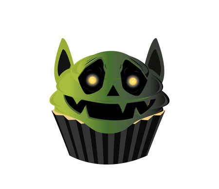 frosted: Green frosted goblin shaped cupcake on a white background