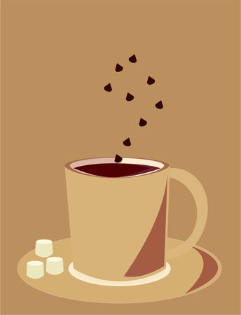 Mug of hot chocolate with chocolate chips and marshmallows on a brown background Vector