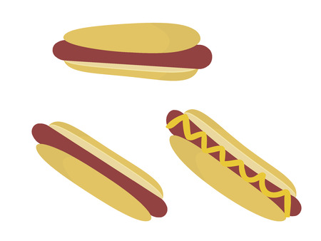 hot dogs in buns isolated on a white background