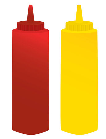condiments: Ketchup and mustard containers isolated on a white background