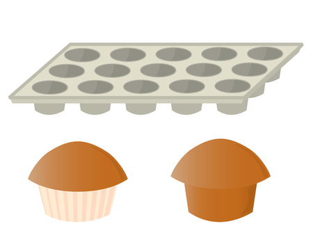 muffins and an empty muffin baking pan on a white background Illustration