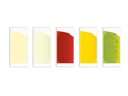 plastic packets of ketchup mustard relish and mayo Illustration
