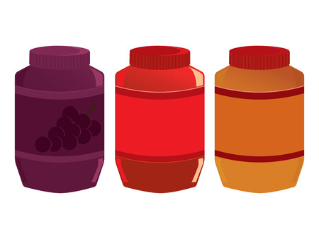 Jars of peanut butter and jelly isolated on a white background Illustration