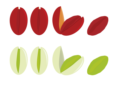 Naturally shaded and red dyed pistachios isolated on a white background