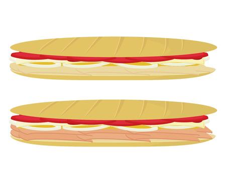 白い背景で隔離サブマリン サンドイッチ 写真素材 - 6468208