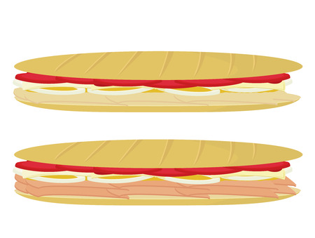 Submarine sandwiches isolated on a white background Ilustrace
