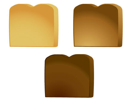 browned: Three pieces of toast isolated on a white background