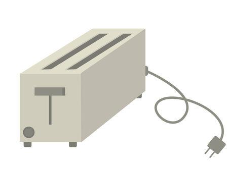 unplugged: Tostadora gris aislado en un fondo blanco