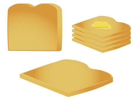 白い背景で隔離のトーストの部分  イラスト・ベクター素材