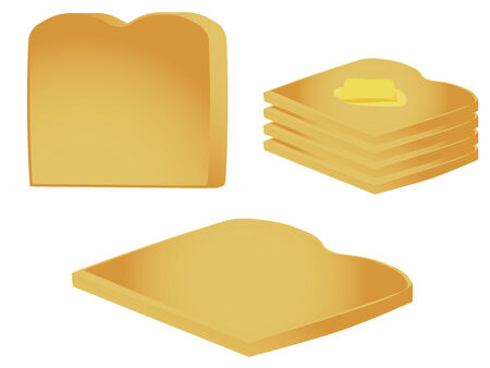 toasted: Pieces of toast isolated on a white background Illustration