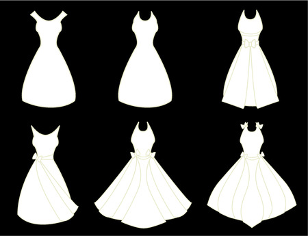 formal attire: A set of white fancy dresses isolated on a black background