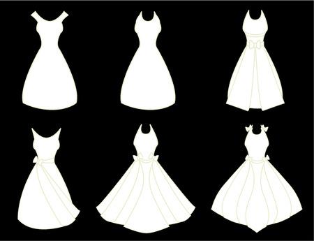ankleiden: Eine Reihe von wei�en Lust auf-Kleider, die auf einem schwarzen Hintergrund isoliert
