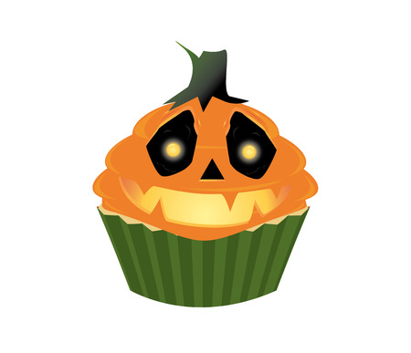 Cupcake with smiling pumpkin face on a white background Vector