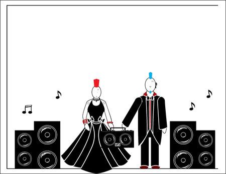 남성과 여성의 스피커와 스테레오가있는 두 명의 펑크