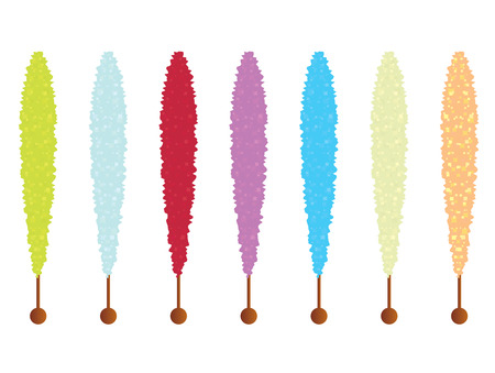 Crystalized rock candy sticks in several colors isolated on a white background Illustration