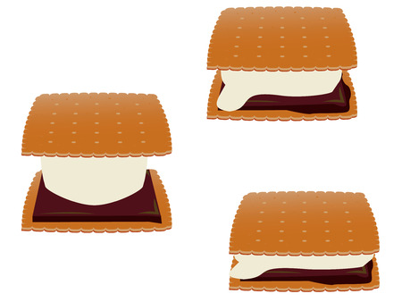 Smores in three stages of melting isolated on a white background Illustration