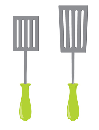 Long and short spatulas with green handles isolated on a white background