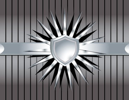 A silver metallic shield with spiky rays on a gray striped background