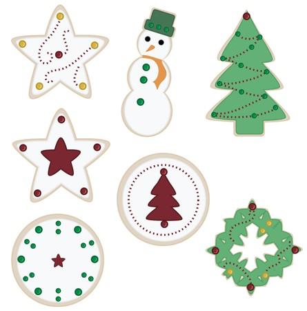 Seven Christmas cookies isolated on a white background including a pine tree, snowman, and stars