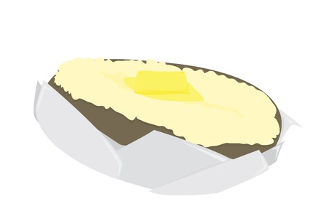 Baked potato split open with a pat of butter in foil on a white background
