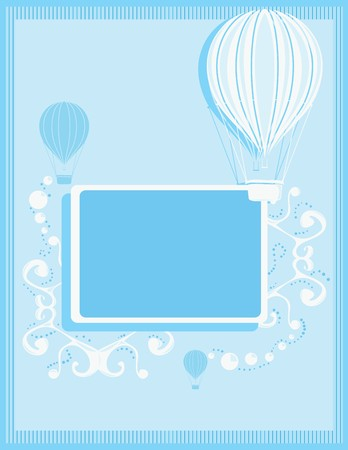 Blue and white hot air balloon background with a rectangular frame and white abstract elements Illustration