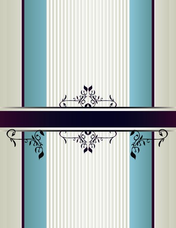 Cream and blue striped background with a purple banner with floral designs