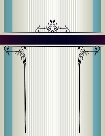 Crème en blauwe gestreepte achtergrond met een paarse banner met bloemmotieven