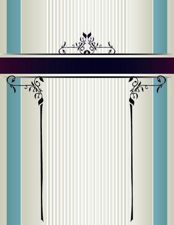 Cream and blue striped background with a purple banner with floral designs Reklamní fotografie - 7315130