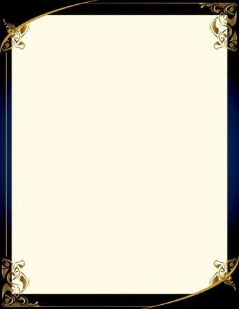 Een blauwe achtergrond met en elegante leeg frame design  Stock Illustratie