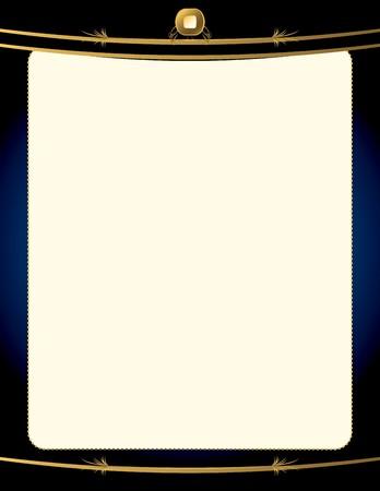 A blue background with and elegant blank frame design Illustration