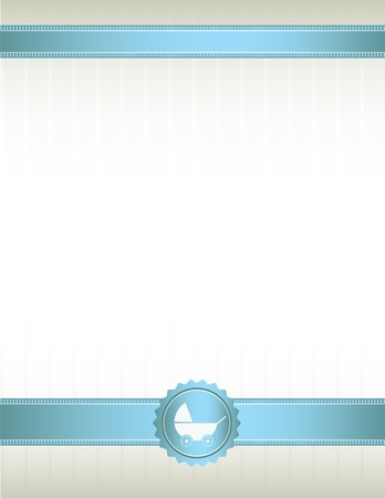 An off white background with blue ribbons at top and bottom and a baby stroller seal design